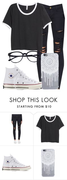"""§§ I'm So High §§"" by mallorimae ❤ liked on Polyvore featuring Frame Denim, H&M and Converse"