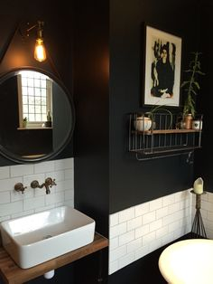 35 Ideas For Bath Room Wallpaper Blue Farrow Ball Bathroom Bath, Small Bathroom, Bath Room, Compact Bathroom, Black White Bathrooms, Downstairs Toilet, Modern Master Bathroom, Bathroom Colors, Bathroom Ideas