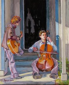 Musicians practicing on the doorstep, oil painting by Dominique Amendola, #art #painting #music #cello. Original artwork available, just click on this image. This image is under strict copyright to Dominique Amendola.