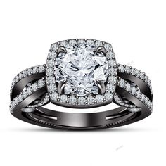 Surface Prong Setting Round Diamond 925 Silver Women's Engagement Ring Size 5-12…
