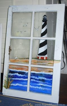 Lighthouse View- Hand Painted Window by Beyond the Cork. Contact sandshara@msn.com for pricing.