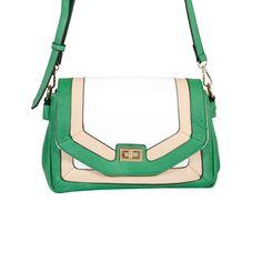 Green/White/Tan Color Block Crossbody by MMS Design Studio