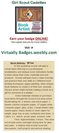 Book Artist Girl Scout Cadette badge earned online!