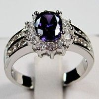 Wish | 925 Sterling Silver Amethyst Lady's Wedding Rings Size 6-9