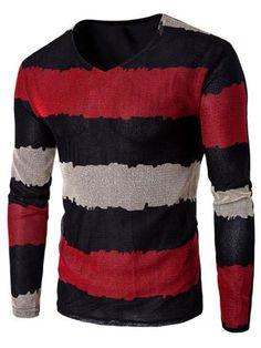 Color Striped V-Neck Texture T-Shirt