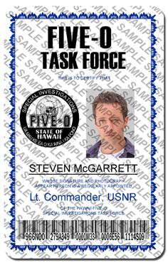 hawaii five-o steve mcgarrett | Hawaii Five-O Steve McGarrett Task Force ID Card photo Steve-TaskForce ...