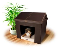 Indoor Dog House - Brown Faux Leather