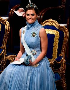 Sweden's Crown Princess Victoria attends the Nobel Prize Award Ceremony at the Stockholm Concert Hall on December 10 2017 in Stockholm Sweden / AFP...