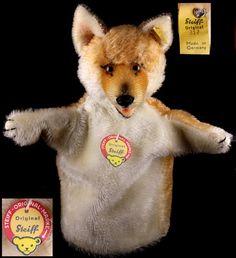 Stunning Rare Steiff '50s Red Fox Hand Puppet All IDs Near Mint from rosalie-steiff on Ruby Lane