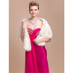 Gorgeous Faux Fur Wedding / Special Occasion Shawl / Wrap With Rhinestone (More Colors) – AUD $ 23.60