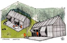 Refugio en el Campo // Country Retreat on Behance Architecture Drawings, Facade Architecture, Architecture Illustrations, Architecture Graphics, House Sketch Design, Perspective Sketch, Interior Design Presentation, Schematic Design, House Drawing