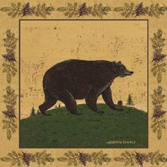 Warren Kimble   Warren Kimble Paintings - Warren Kimble Folk Bear Painting