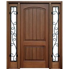 Shop for DSA Doors Decatur Hendersonville E 03 builders door. Decatur Hendersonville 2 Panel V Grooved Mahogany Entry Door And Two 5 Lite Sidelites With Decorative Wrought Iron And Clear Low E Glass. Decatur Hendersonville 2 panel v grooved mahogany entry Interior Barn Doors, Wooden Door Design, Wood Doors Interior, Wood Front Entry Doors, Doors Interior
