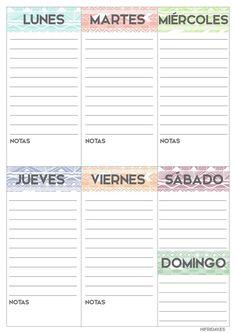 Planificador semanal para imprimir, descargable, gratis y en español