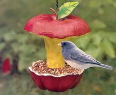 Apple core bird feeder, you could do this with a real apple