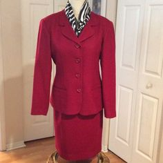 Beautiful Red 2pcs wool Suit Beautiful shade of red.  The color is true to picture.  Back zipper on the skirt and kick back slit. Stepanie Andrews Other
