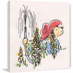Paddington Bear Gardening Art Print on Premium Canvas, Size: 32 inch x 32 inch, Multicolor