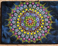 Rustic Blue Mandala Jewel Original dot art painting acrylic on canvas board multicolours vibrant