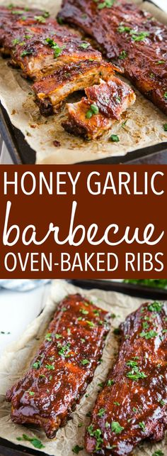 These Honey Garlic Oven-Baked Barbecue Ribs are the best and easiest way to make perfect, juicy, fall-off-the-bone ribs with a sweet honey garlic sauce! Rib Recipes, Grilling Recipes, Easy Dinner Recipes, Cooking Recipes, Vegetarian Grilling, Healthy Grilling, Barbecue Recipes, Vegetarian Food, Summer Recipes