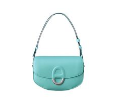"""Cherche Midi Hermes bag in tadelakt calfskin Measures 7.1"""" x 4.7"""" x 1.8"""" Adjustable shoulder strap. 2 flat pockets. Silver and palladium plated hardware, leather covered """"Chaine d'Ancre"""" link closure Blue Atoll"""