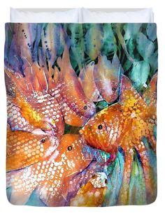 Goldfish Pond Chatroom Duvet Cover featuring the painting Goldfish Pond Chatroom by Sabina Von Arx Watercolor Paintings, Original Paintings, Goldfish Pond, Creative Colour, Season Colors, Basic Colors, Painting Techniques, Color Show, Colorful Backgrounds