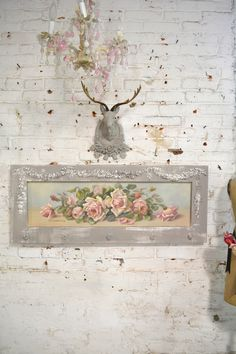 Painted Cottage Chic Shabby Romantic Rose Canvas Print [GRRS] - $230.00 : The Painted Cottage, Vintage Painted Furniture