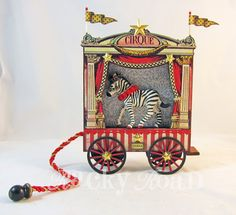 Zebra Circus Wagon - MISCELLANEOUS TOPICS - One thing I really love about the Alpha Stamps' monthly kits is how versatile they are. Circus Crafts, Circus Art, Circus Theme, Circus Train, Circus Birthday, Birthday Parties, Altered Tins, Altered Art, Vintage Circus