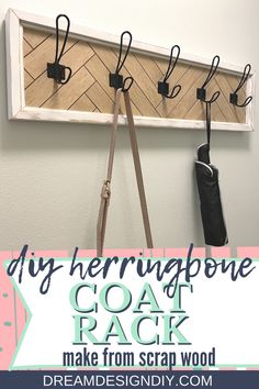 Make this coat rack with a herringbone pattern for stylish organization. Perfect for those messy spots in your house; bathrooms, front entrance, mudroom, kids room, an office, etc. #diy #coatrack #herringbone Diy Home Crafts, Diy Home Decor, Wood Crafts, Diy Coat Rack, Diy Fall Wreath, Diy Projects For Beginners, Herringbone Pattern, Diy Home Improvement, Home Interior
