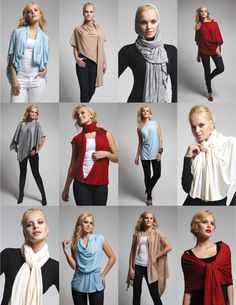 The Bina™is an Innovative Fashion Solution    You can create many unique looks from just one item. It can be worn as a scarf, cardigan, poncho, blouse, shrug, stole, turtleneck, shoulder scarf, back wrap, front wrap, tunic and headscarf. It can also be styled to create your own unique look.