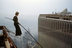 Philippe Petit on his wire walk between the Twin Towers in August 1974