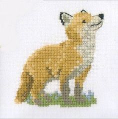 Heritage Crafts Counted Cross Stitch Kit - Little Friends - Fox Cub (aida) Small Cross Stitch, Cross Stitch Cards, Cross Stitch Animals, Counted Cross Stitch Kits, Cross Stitch Designs, Cross Stitch Embroidery, Cross Stitch Patterns, Fox Crafts, Heritage Crafts