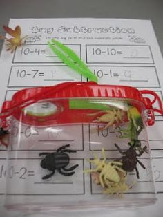 Insects: Bug Subtraction/Addition -Use bugs in a bug jar and subtract/add the given number.