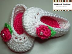 Crochet Ballerina Baby Slippers with Ribbon by CarameloBoutique, $15.00