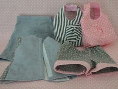 Clockwise Beginning on Top with Pinstripe Bag, Pink Polkadot Bag, Shorts with Pink Cuff, Summer Breeze Top, and Gray Dotted Swiss Pants