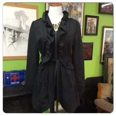 """NWT trench coat Elegant/stylish charcoal color. Has 1 pocket each side. Body length : 33""""   Sleeve length: 25 1/2"""". Armpit to armpit 42"""" measurement. with zipper close. Will give necklace for free. Aniina Jackets & Coats Trench Coats"""