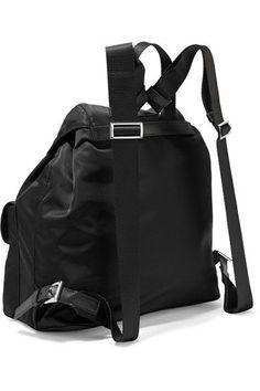 Prada - Vela Large Leather-trimmed Shell Backpack - Black