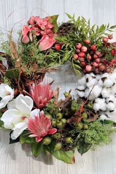 Ships Free Cotton Wreath Preserved Cotton by TheWreathShed on Etsy
