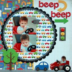 toy car scapbooking page for little boy