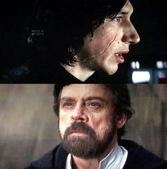 """Kylo's reaction seeing Luke<<< Probably intense because the last thing he remembered of him were, """"The frightened eyes of a boy who's master had failed him."""""""