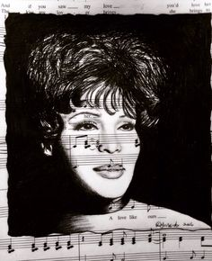 Whitney Houston drawn in graphite and ink by Donna Taranto on recycled sheet music