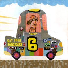 Race Car collage #6: Mom Mackowiak. Brian Biggs