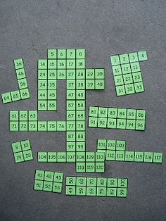 Make puzzles out of 100 charts for kids to put together. Could possibly work with other skip counting number chart too.