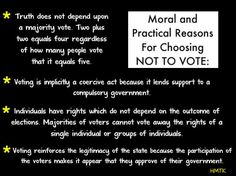 Moral and Practical Reasons for Choosing NOT TO VOTE.