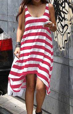 Casual Stripe Irregular Beach Dress