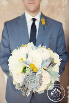 Peony & Succulent Bouquet with my wedding colors instead of gray...cute!