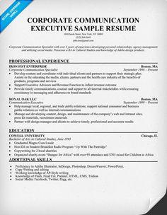 corporate communication executive sample resume resumecompanioncom - Executive Resume Samples