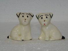 Vintage Ceramic White Dogs Salt Pepper Shakers | eBay