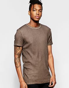 ASOS+Longline+T-Shirt+With+Scoop+Neck+In+Oil+Wash+Rib+In+Brown