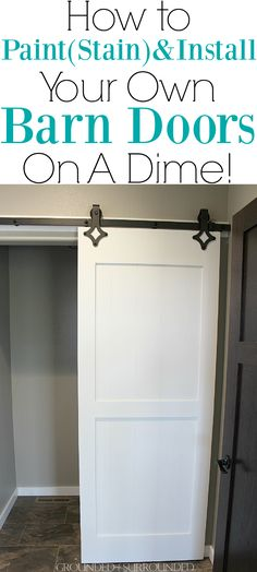 How to DIY Your Own Barn Doors   We chose to hang two barn doors in our new home, one chalk board painted and one gel stained. You can do this project on the cheap with this tutorial. These sliding doors in our master suite and laundry room are modern yet rustic and farmhouse yet classic. The black industrial hardware and quiet floor guide work incredibly well. Plus they add so much style on a budget! #bathroom #bedroom #homedecor