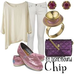 Cream top  White pants  Maybe normal colored shoes but pink sweater instead